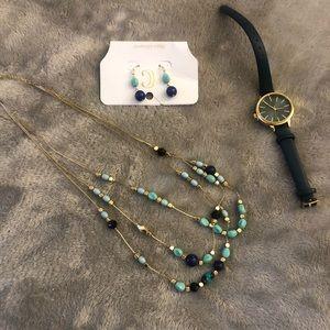 Blue Necklace, earring & watch set. Never worn.